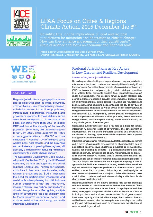 Cover of LPAA Focus on Cities & Regions Climate Action